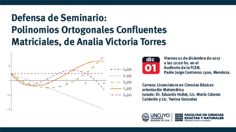 Defensa de Seminario Polinomios Ortogonales Confluentes Matriciales, de Analia Victoria Torres
