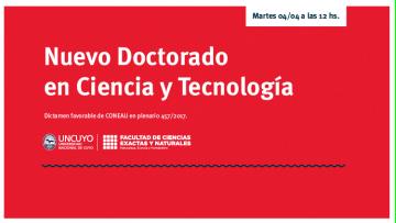 Nuevo Doctorado en Ciencia y Tecnología de la Facultad de Ciencias Exactas y Naturales