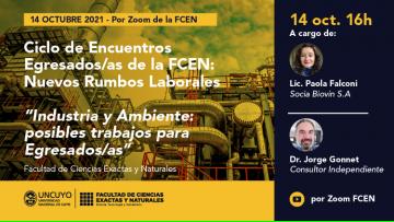 """Ciclo de encuentros Nuevos rumbos laborales: """"Industria y Ambiente: posibles trabajos para Egresados/as"""""""